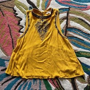 Yellow Embroidered Tank Top